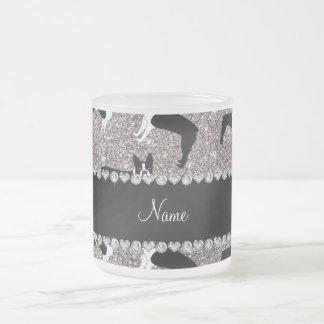 Custom name silver glitter boston terrier 10 oz frosted glass coffee mug