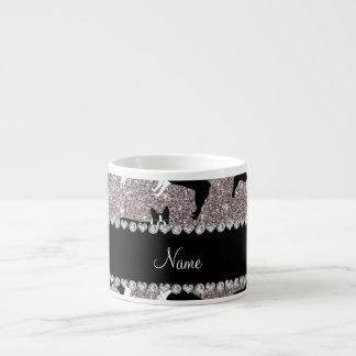 Custom name silver glitter boston terrier 6 oz ceramic espresso cup