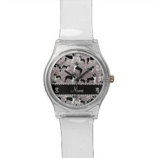 Custom name silver glitter boston terrier watches