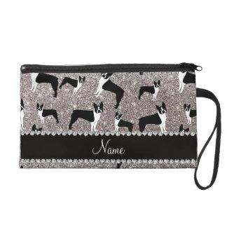 Custom name silver glitter boston terrier wristlet purse