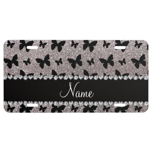 Custom name silver glitter butterflies license plate Zazzle