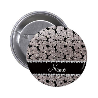Custom name silver glitter cheerleading 2 inch round button