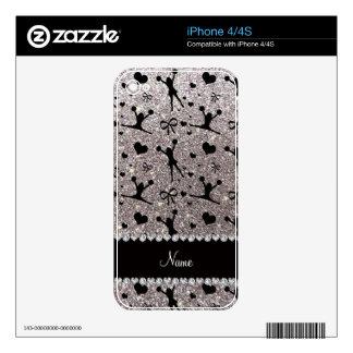 Custom name silver glitter cheerleading iPhone 4 skins
