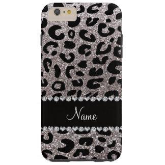 Custom name silver glitter cheetah print iPhone 6 plus case