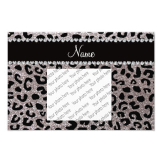 Custom name silver glitter cheetah print photo print