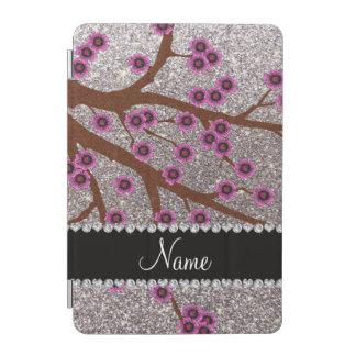 Custom name silver glitter cherry blossoms iPad mini cover