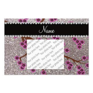 Custom name silver glitter cherry blossoms photo