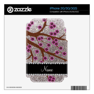 Custom name silver glitter cherry blossoms iPhone 3G decals