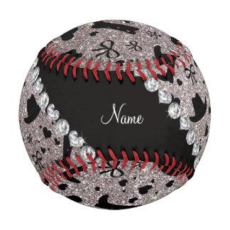 Custom name silver glitter cowboy boots hats baseball