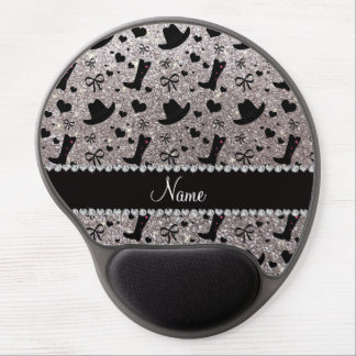 Custom name silver glitter cowboy boots hats gel mouse pad