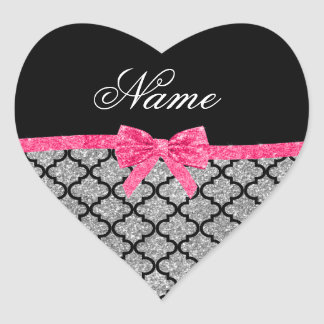 Custom name silver glitter moroccan pink bow heart stickers