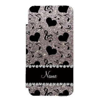 Custom name silver glitter music notes hearts iPhone SE/5/5s wallet case