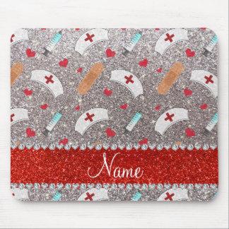Custom name silver glitter nurse hats heart mouse pad