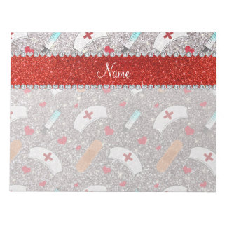 Custom name silver glitter nurse hats heart memo pad