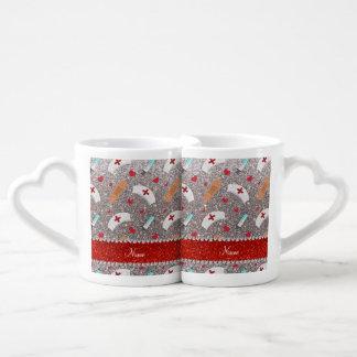 Custom name silver glitter nurse hats heart couples' coffee mug set
