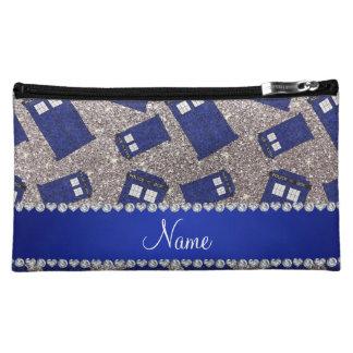 Custom name silver glitter police box makeup bags