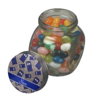 Custom name silver glitter police box glass jars