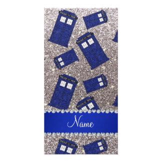 Custom name silver glitter police box photo greeting card