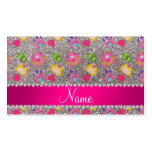 Custom name silver glitter princess frogs business card template
