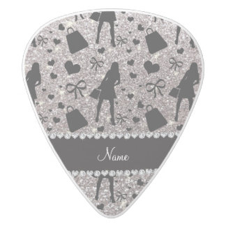 Custom name silver glitter shopping white delrin guitar pick