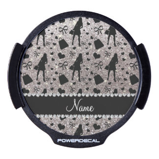 Custom name silver glitter shopping LED window decal