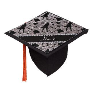 Custom name silver glitter shopping graduation cap topper