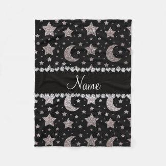 Custom name silver glitter stars and moons fleece blanket