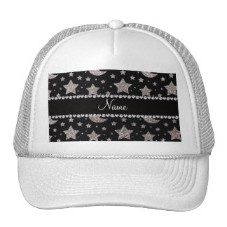Custom name silver glitter stars and moons trucker hat