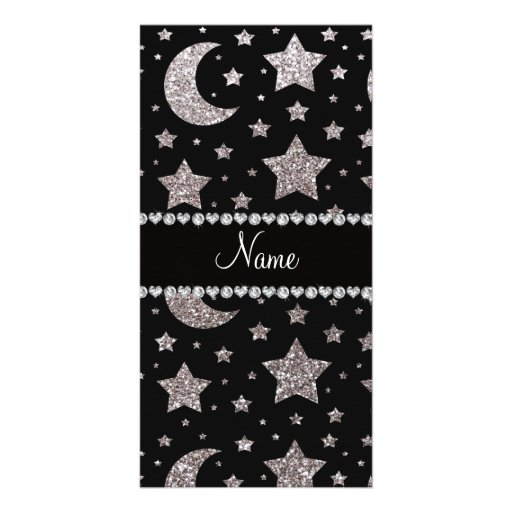 Custom name silver glitter stars and moons customized photo card