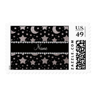 Custom name silver glitter stars and moons postage