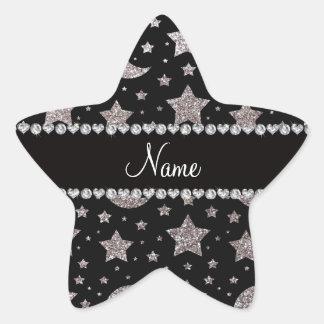 Custom name silver glitter stars and moons star sticker