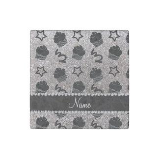 Custom name silver glitter stars cupcakes stone magnet