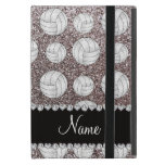 Custom name silver glitter volleyballs covers for iPad mini