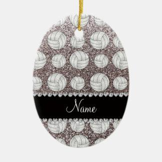 Custom name silver glitter volleyballs christmas tree ornament