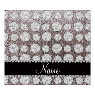 Custom name silver glitter volleyballs poster