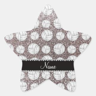 Custom name silver glitter volleyballs star sticker