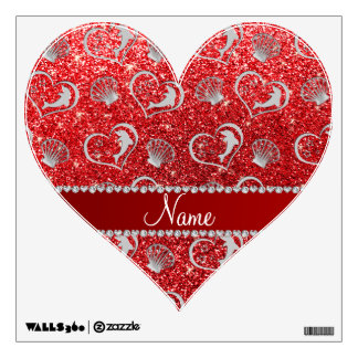 Custom name silver hearts dolphins red glitter wall decal