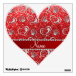 Custom name silver hearts dolphins red glitter wall decor