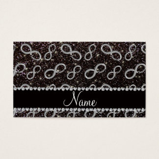 Custom name silver infinity black glitter business card