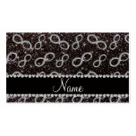 Custom name silver infinity black glitter Double-Sided standard business cards (Pack of 100)