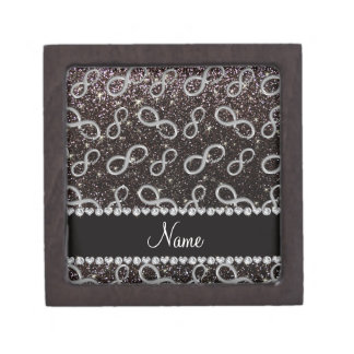 Custom name silver infinity black glitter premium jewelry boxes