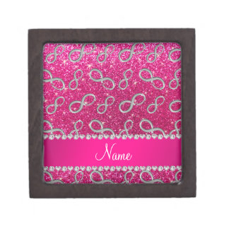 Custom name silver infinity neon hot pink glitter premium jewelry boxes