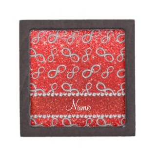 Custom name silver infinity neon red glitter premium trinket boxes