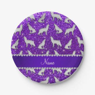 Custom name silver wolf indigo purple glitter paper plate