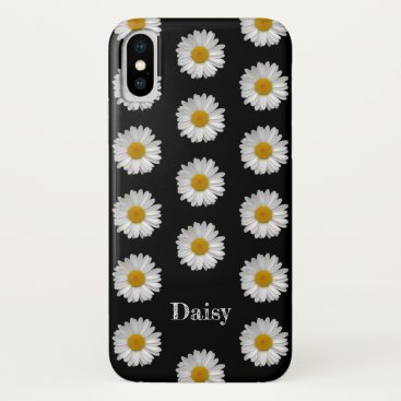 Custom Name Simple White Daisies Flower on Black iPhone XS Case