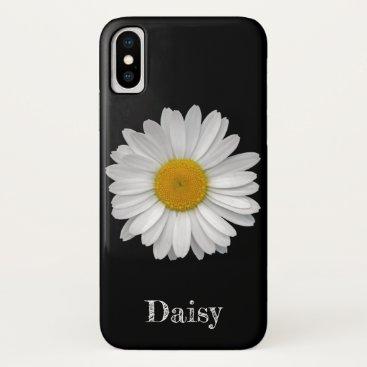 Custom Name Simple White Daisy Flower on Black iPhone XS Case