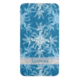 Custom Name Sky Blue and White Floral Damask Galaxy S4 Pouch