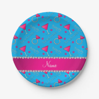 Custom name sky blue bachelorette cocktails rings paper plate