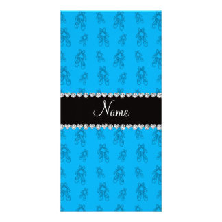 Custom name sky blue ballet shoes photo card