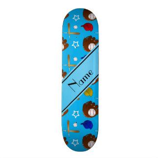Custom name sky blue baseball glove hats balls skateboard decks